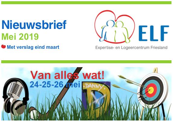 Nieuwsbrief ELF mei 2019 met uitnodiging meiweekend en verslag van maartweekend