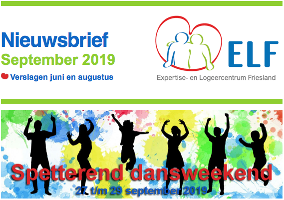 Nieuws van ELF in september 2019 met uitnodiging dansweekend, de logeerdata in 2020 en de verslagen van juni en augustus.